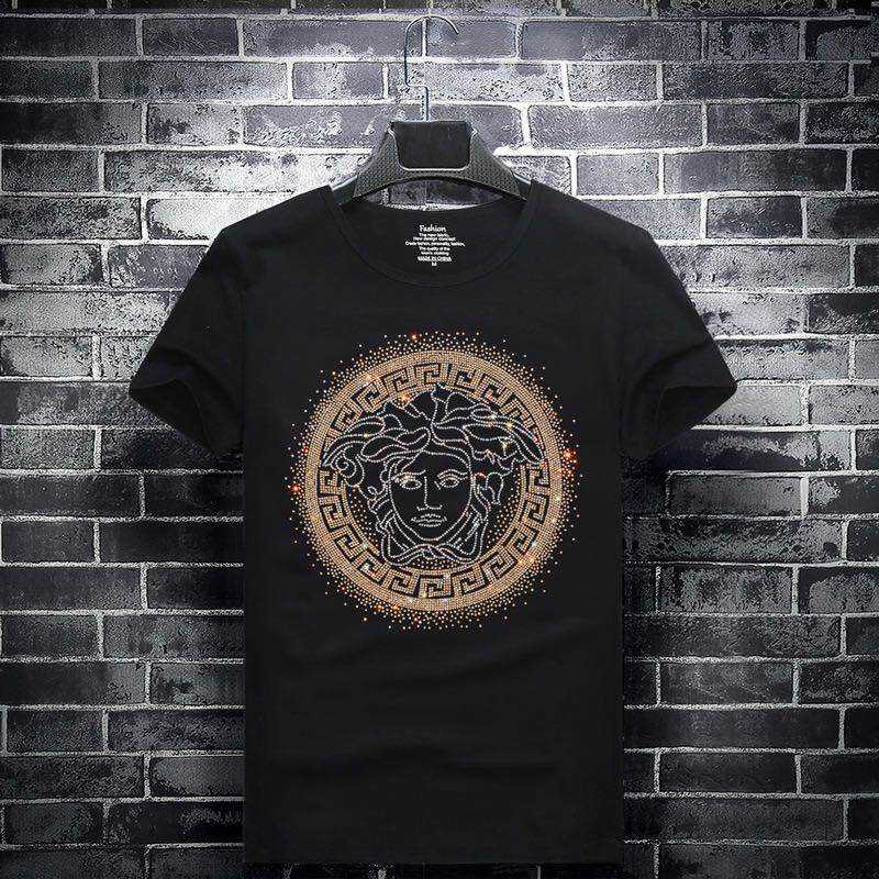 New Black T-shirt With Rhinestons/Crystals For Men ODM OEM Custom Print Men's Stylish Hip Hop t-shirt