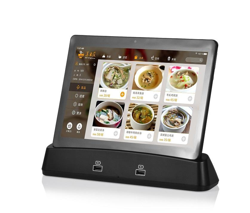 10 zoll android tablet alle in einem restaurant tab android 8.1 drahtlose lade tablet mit docking station industrie tablet pc