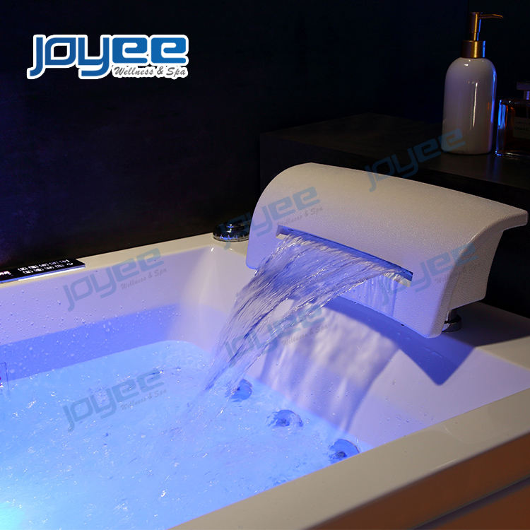 JOYEE Europe style 2 sided skirt small rectangle whirlpool massage bath tub with neck waterfall new design
