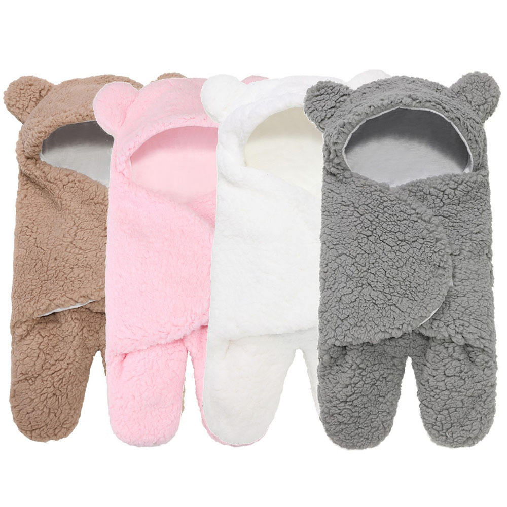 Cute personalized swadle girls boys kids animal cotton fur ultra-soft fluffy new born baby winter sleeping bags