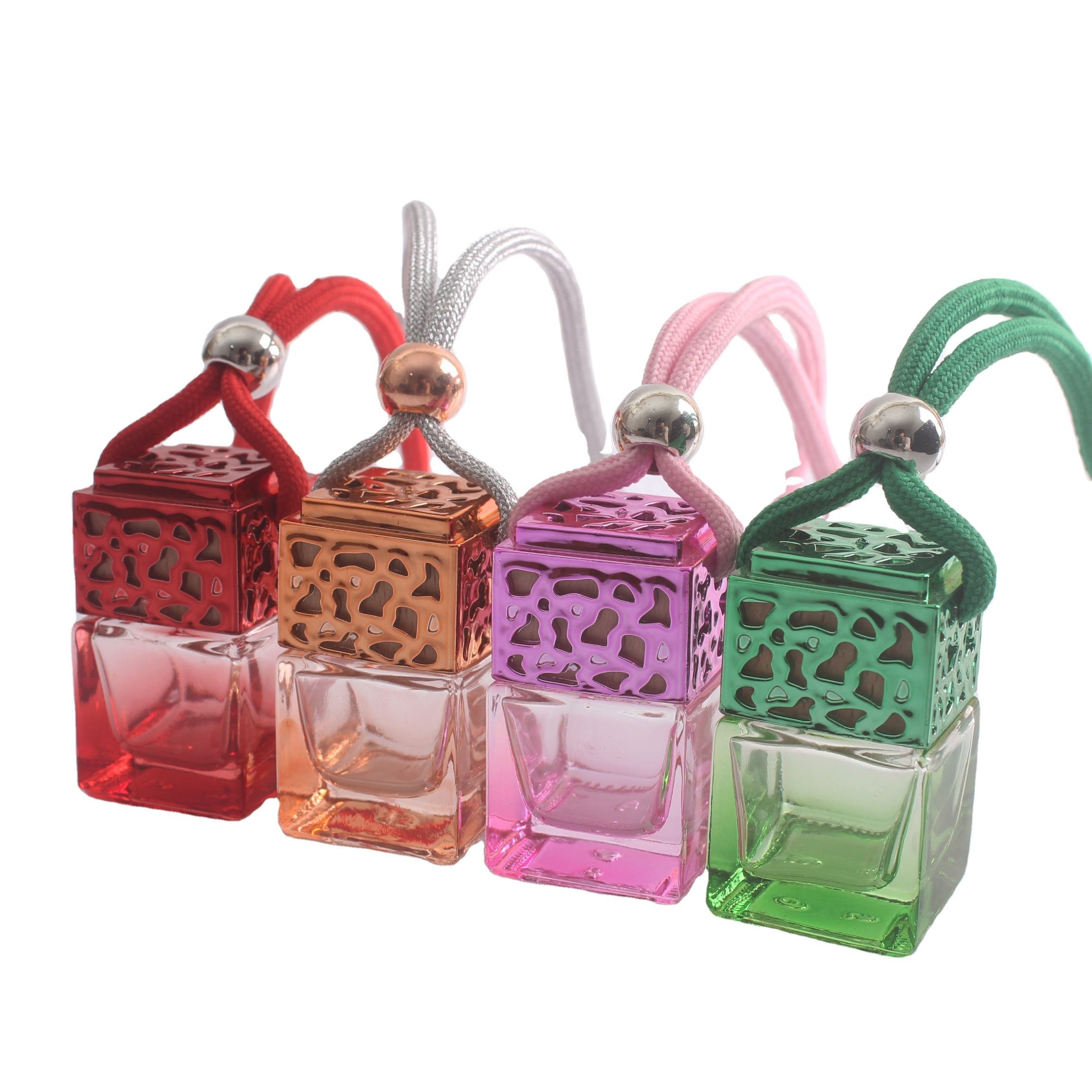 Car perfume bottle square colored glass perfume vial with colored lid hanging car diffuser bottles Ready Stock bottle