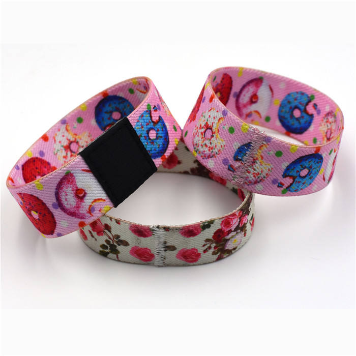 Wholesale Charm Fabric Wristband Sublimation Printed Elastic Custom Bracelet Mixed Colorful Elastic Wrist Band Bracelet