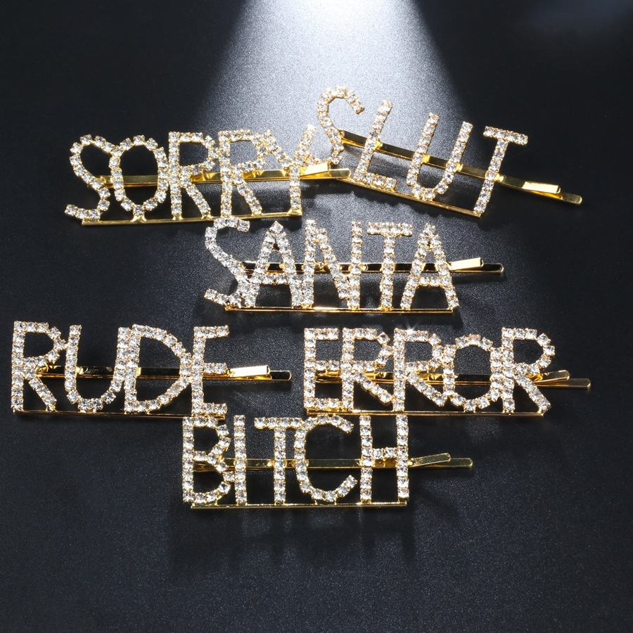 12 words BITCH RUDE SLUT gold hair clip crystal rhinestone alphabet letter hair clips word hairpin jewelry
