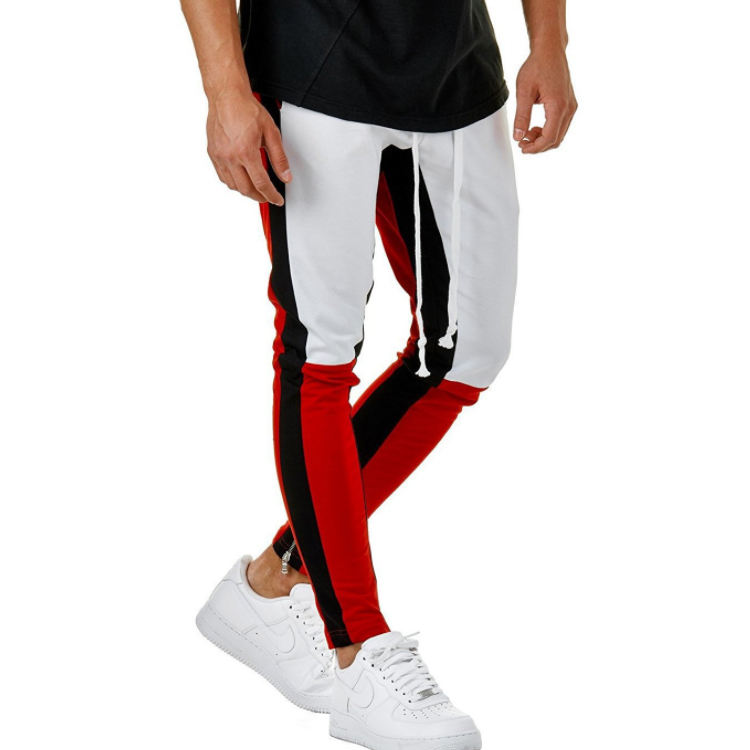 2020 Cotton Mens Long Color Block Street Patchwork Zippers hip pop Casual Pant Sweatpants Trousers Jogger Pants Tracksuit gyms