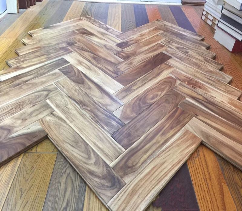 Full solid wood natural smooth herringbone acacia wood flooring