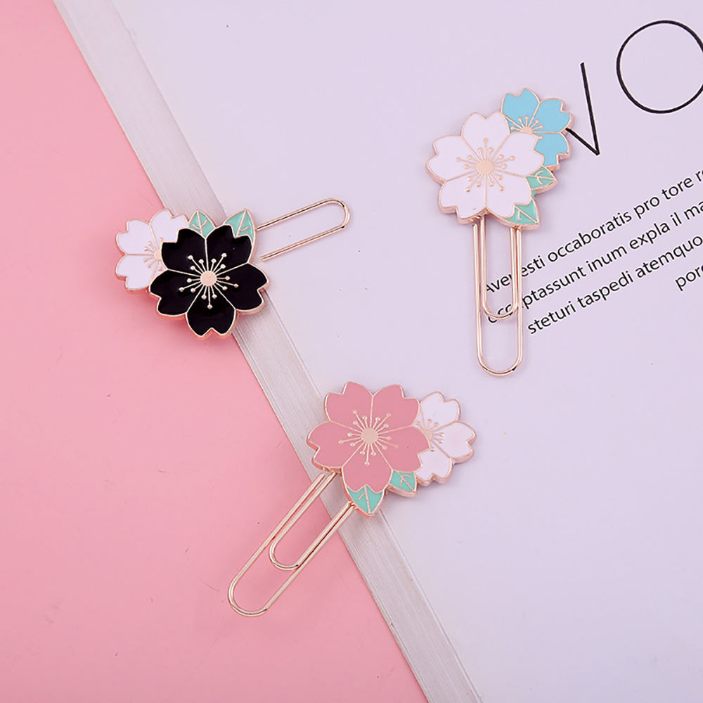 Factory made book holder with page paper clips for big heavy metal clip, Sakura Metal Bookmark beautiful color paper clips
