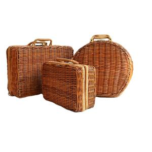 Hot sale Plastic rattan Picnic Cute Lady Suitcase basket storage for Makeup Or Travel