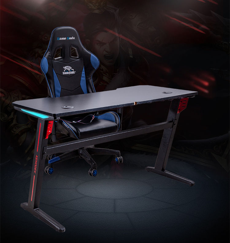Professional Gaming Adjustable Game Club Office Table RGB led lights gaming Desk