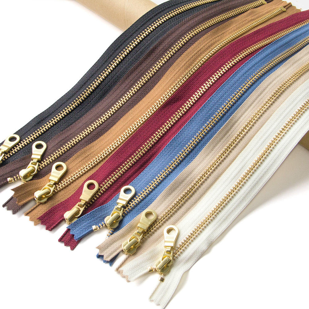 Wholesale Metal Long Chain Zippers For Handbag Auto Lock Metal Zipper For Clothes