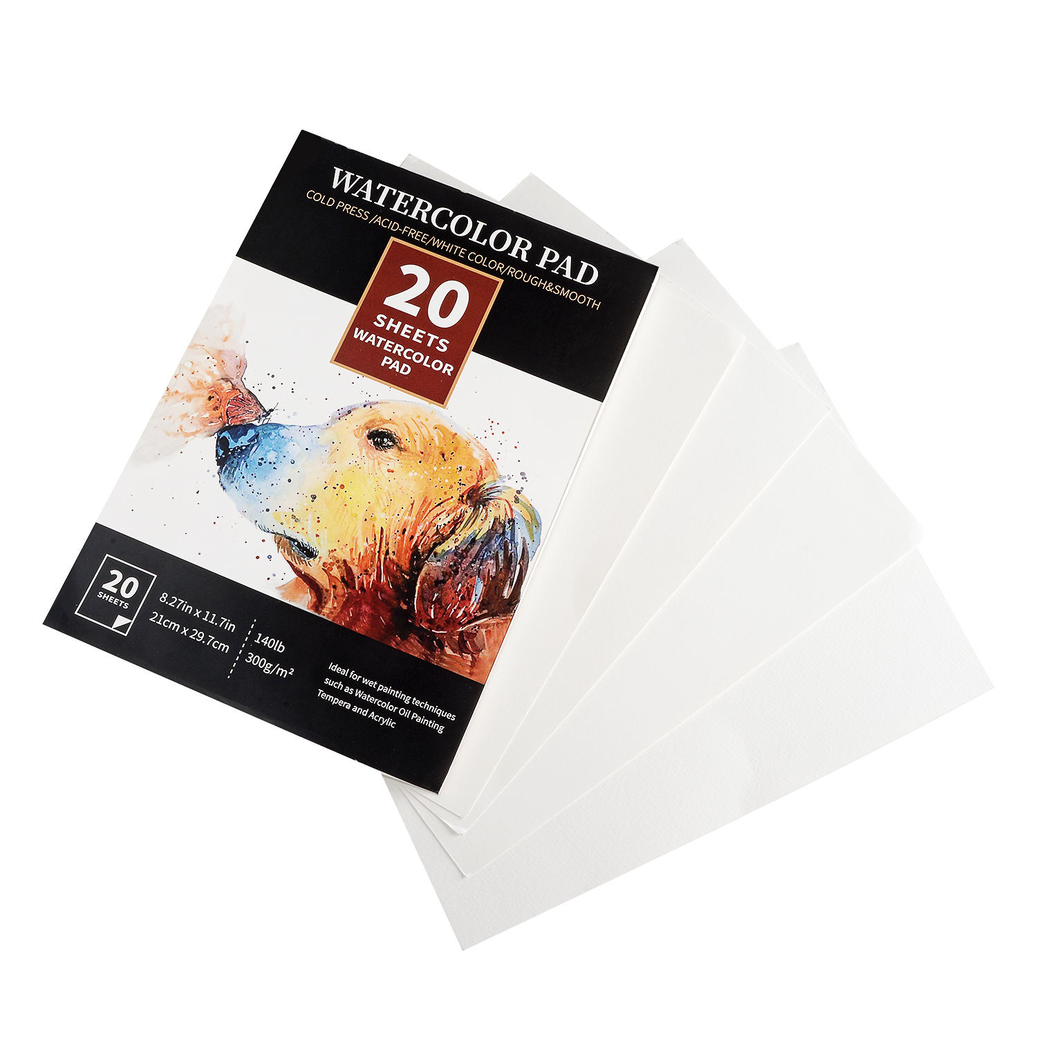 Amazon Hot Selling 300G Watercolor Paper Pad A4 Size Fine&Rough Texture 20 Sheets