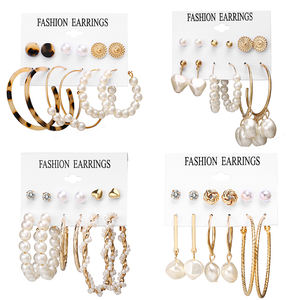 V&R Amazon Hot Sale Oversize Geometric Pearl Hoop Earrings Gold Twist Earring Set Fashion Jewelry