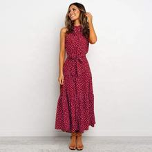 2020 Spring Summer New Women's Mid Length Lace-up Sleeveless Polka Dot Dress