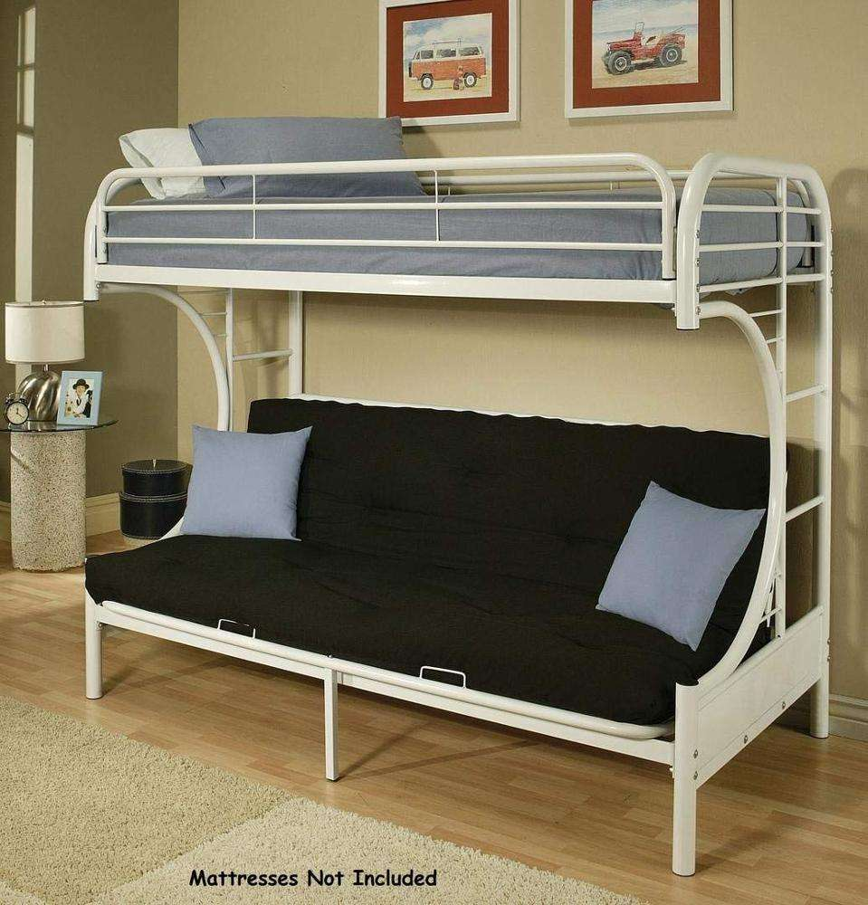 Metal Frame Base Futon Bunk Bed Twin Full White