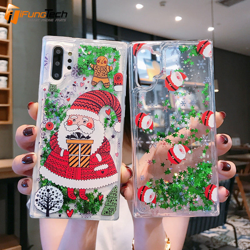 Merry Christmas Case For iPhone 6 7 8 Plus X XR XS Max Santa Claus Elk Phone Case Quicksand Liquid Glitter Cover For Samsung S10