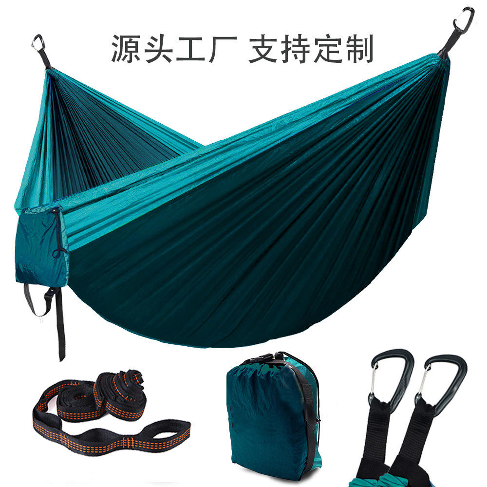 Double Portable Hammock Ultralight Nylon Parachute Hammocks with 2 Hanging Straps for Backpacking Camping Hammock