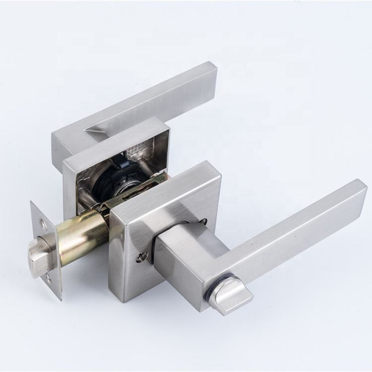 Satin Nickel Lever Set Lock Bedroom Bathroom Tubular Handle Door Lock