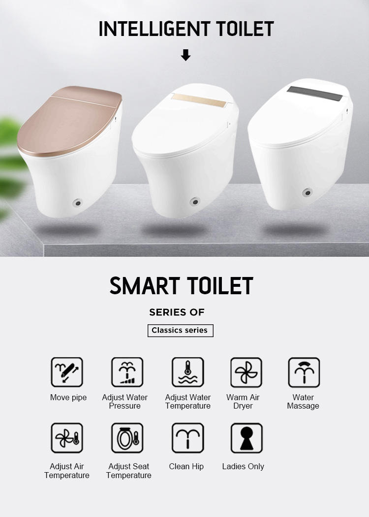 Sanitary wares bathroom ceramic one piece electric intelligent toilet with warm seat airdrying