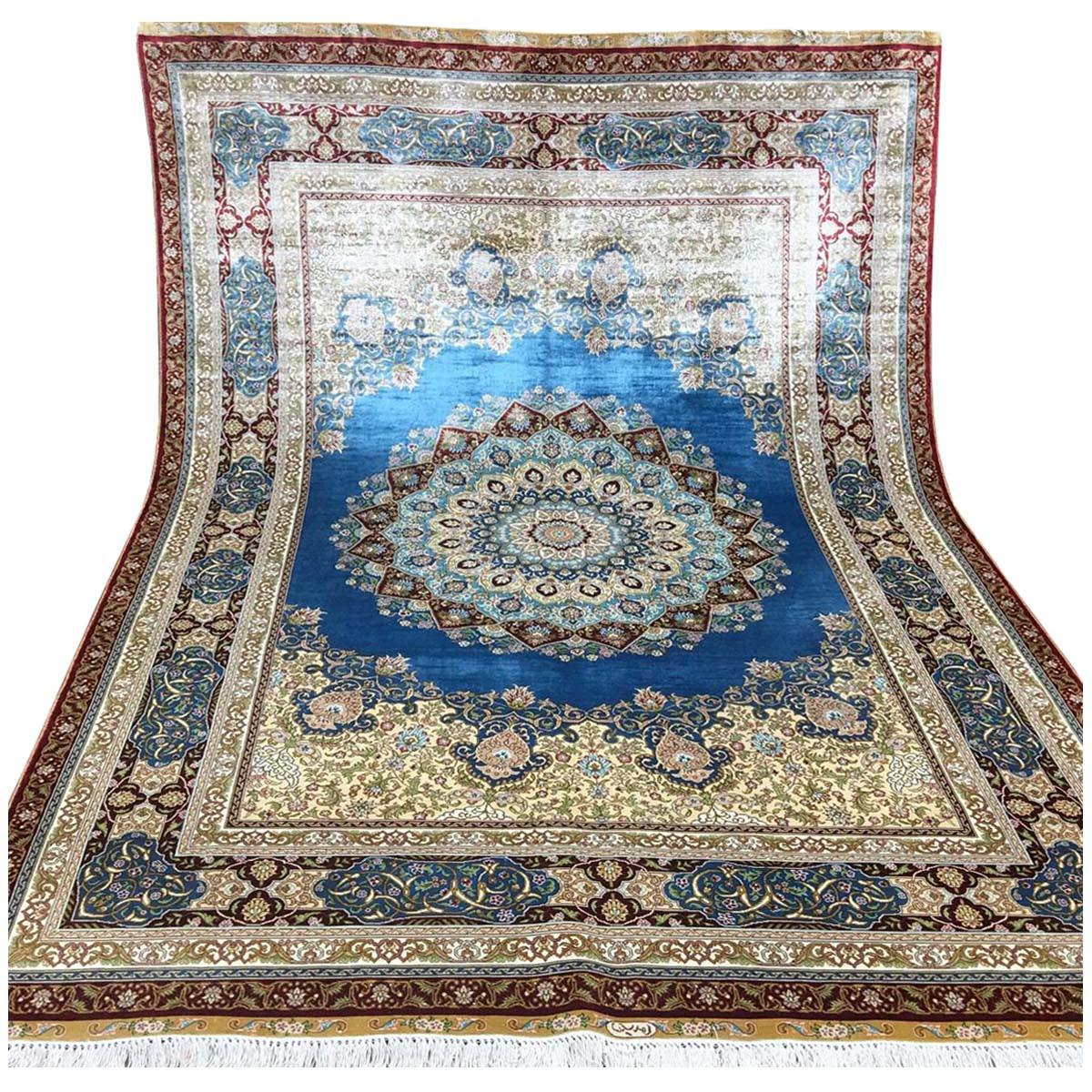 Hand Knotted Oriental Persian Iranian Turkish Style Handmade Kashmir Isfahan Qum Design Chinese Pure Silk Carpet for Sale