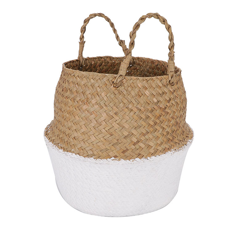 Custom size and colors sea grass straw basket hamper mini dyed weaving seagrass basket for flower storage
