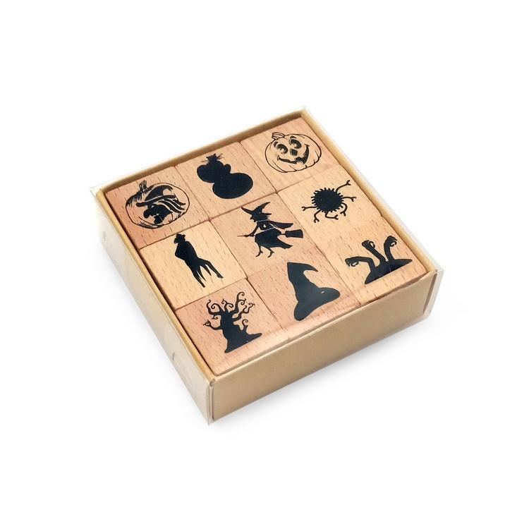 Halloween Decorative Wood Rubber Stamps Cartoon Pattern Custom Rubber Wood Stamp DIY Gift Scrapbook Card Making Stationary