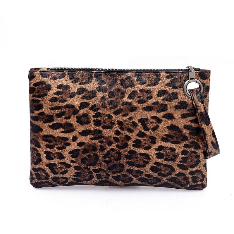 Wholesale Casual Animal Print Wristlet Cheetah Envelop Bag Ladies Evening Wallet Zipper Handbag Women Leopard Pu Clutch Purse