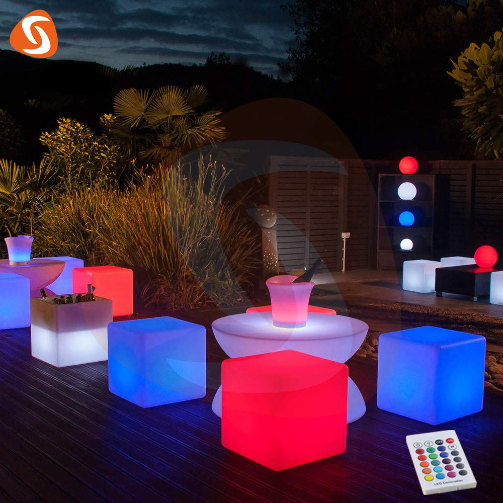 Shijia waterproof unique size outdoor nightclub glow illuminated led cube furniture for party