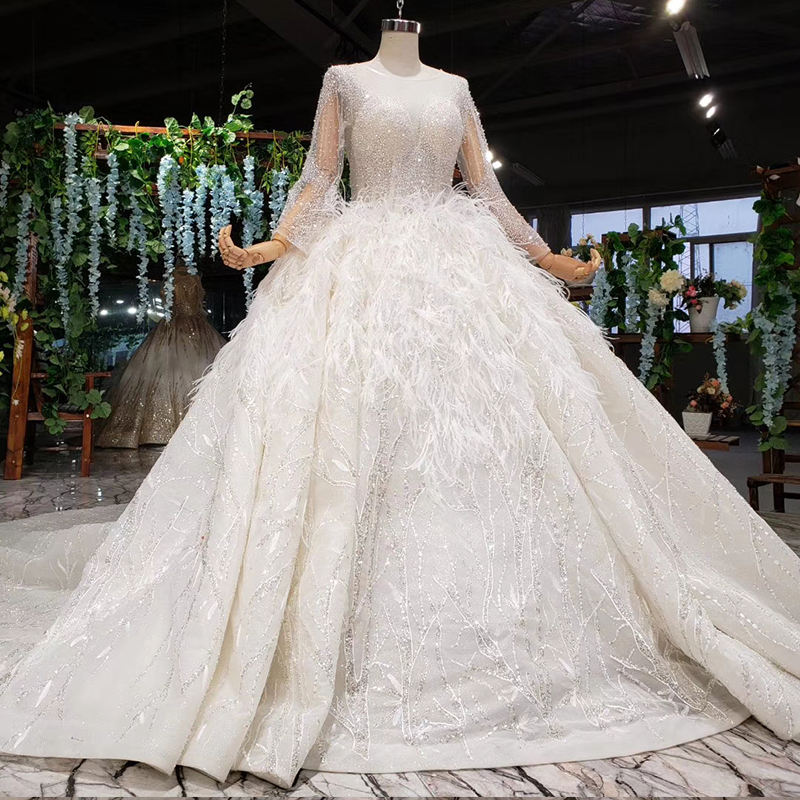 Jancember HTL987 long sleeve feathers luxury sexy lace wedding dress ball gown