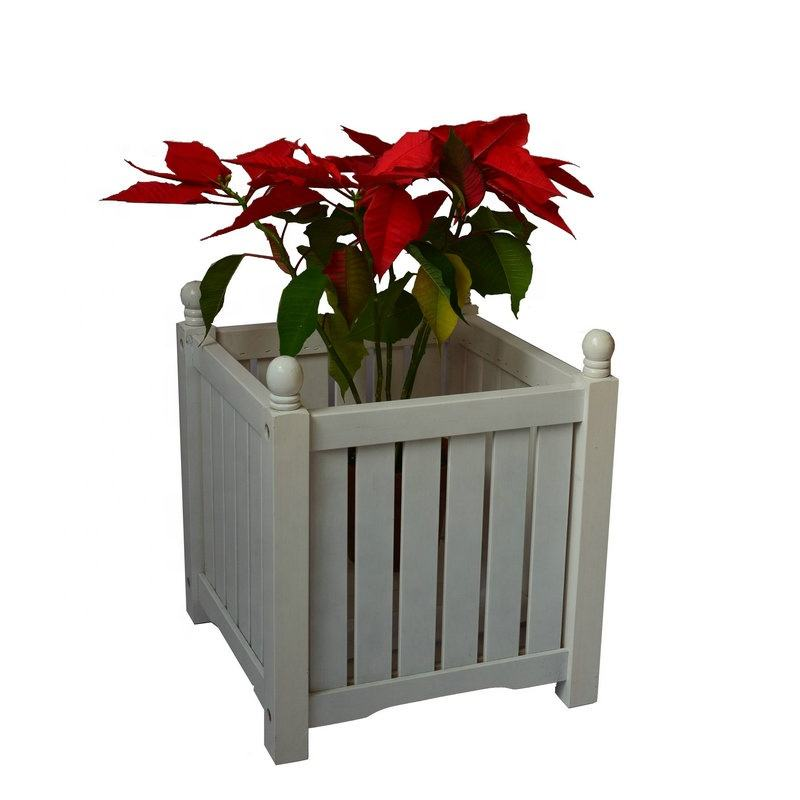 Vierkante Lexington Houten Planter Dozen In Wit