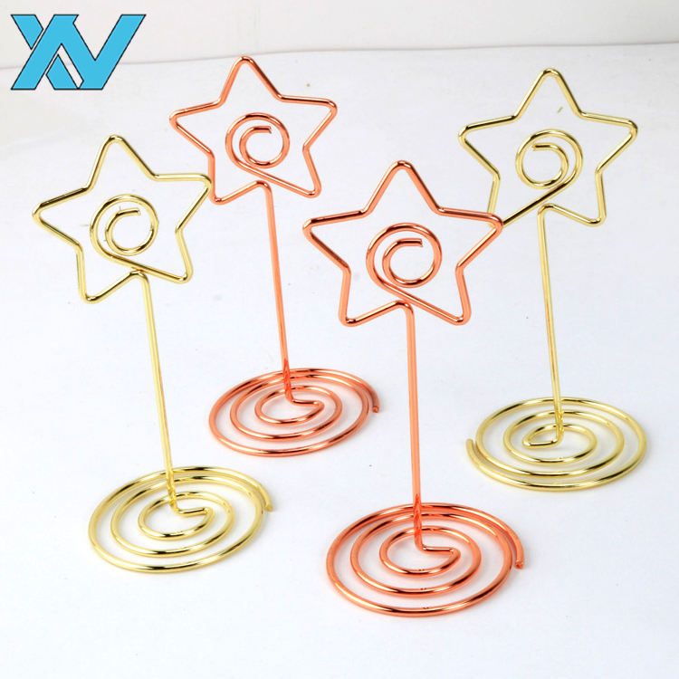 85mm gold /rose gold metal wire star shape business Card Holders