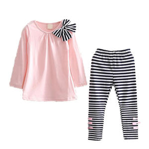 Girls clothing suit new fashion style long-sleeved striped bow design T-shirt + striped pants girls clothing