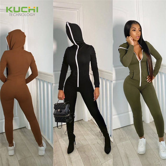 Zipper Jumpsuit Hooded Zentai Women's One Piece Playsuit Pockets fitness Romper 2020 Full Sleeve Yoga Jumpsuit Workout