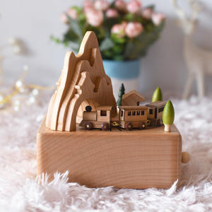 Takefuns Wooden Music Box Train for Girls  rotating music box base Castle Toy Decoration Birthday Present for Children Plays