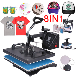 RubySub Doppel Display 8 in 1 Combo Hitze Presse Maschine Sublimation Maschine 2D Transfer Becher Hut T-shirt Drucker