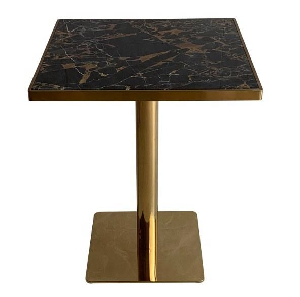 Modern Table Restaurant Luxury Stainless Steel Gold Base And square Round Real Marble Top Dining Table with chair