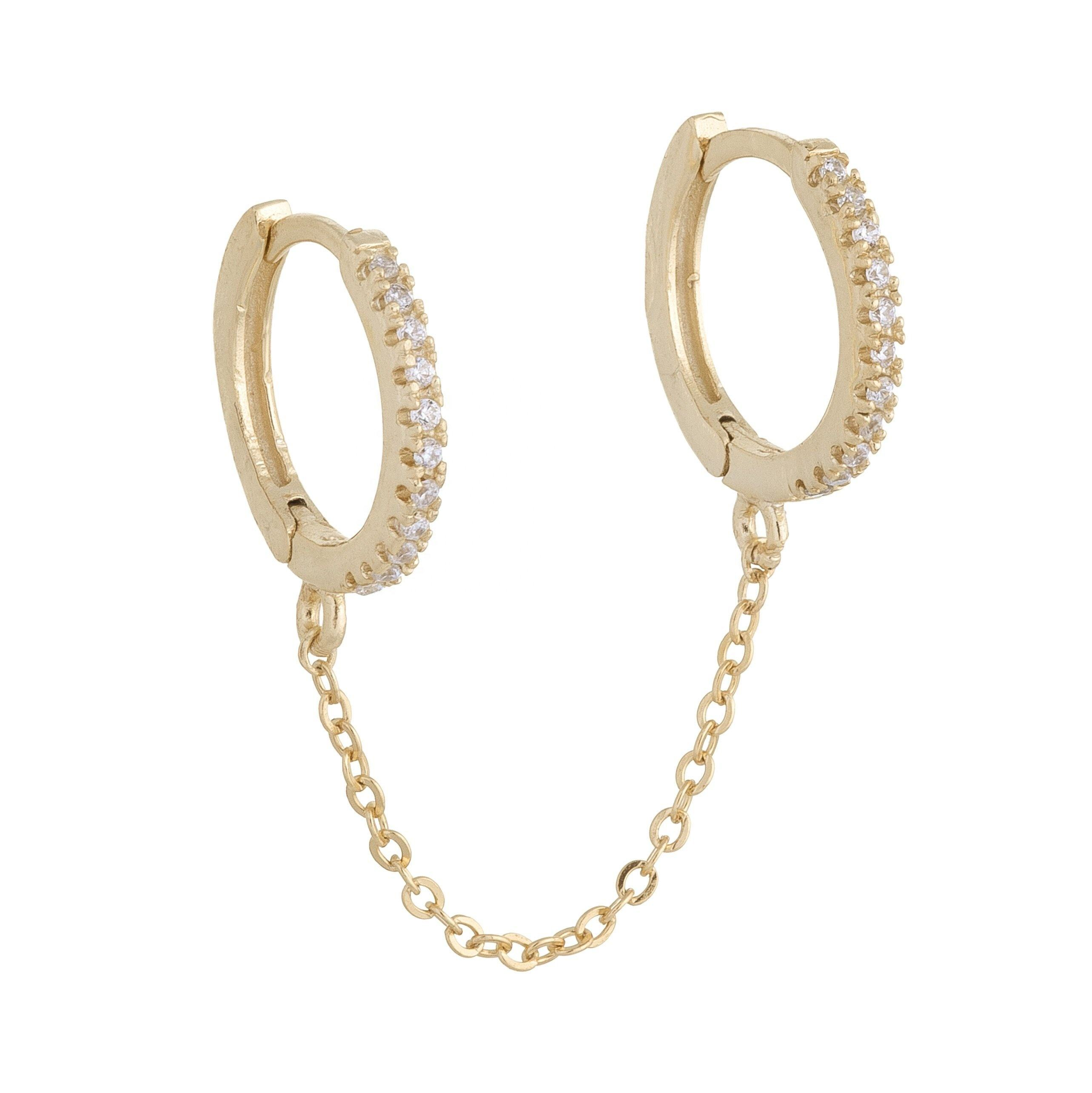 2 hole double piercing mini cz circel hoop with chain earring