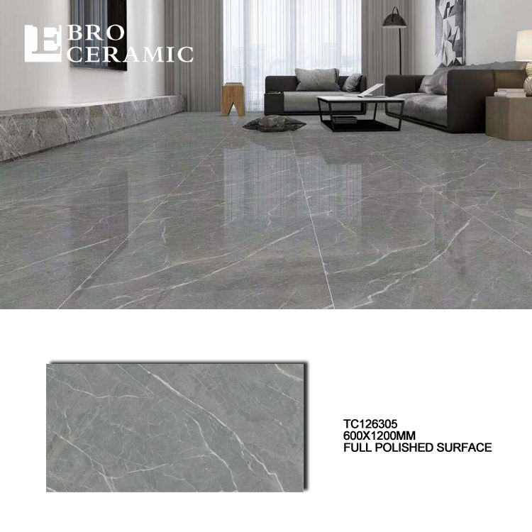 High glossy big size glazed porcelain floor tile price dubai 600x1200 mococcan grey marble tile