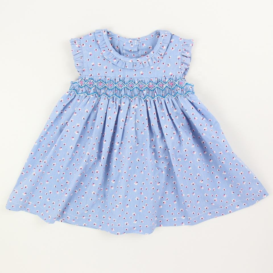 wholesale girls smocked dresses blue floral pattern holiday party smocked dress