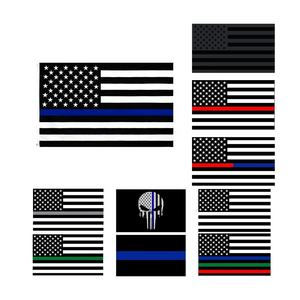 Wholesale 100% Polyester 3x5ft Stock Blue Lives Matter USA Police Honoring Law Enforcement Officers Thin Blue Line Flag