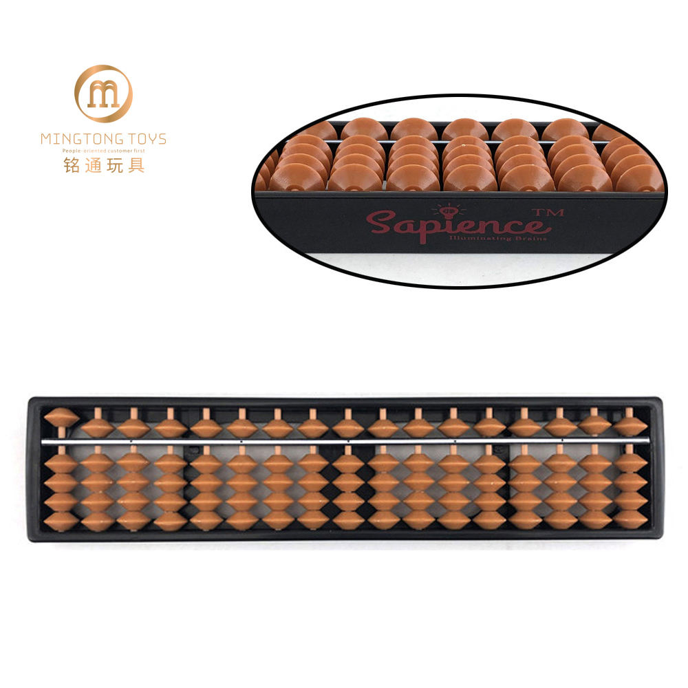 26.7x6x1.8cm OEM logo printing on plastic bead counting frame soroban 17rods student sale custom abacus for school