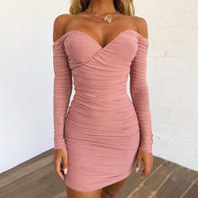 Sexy Pink Off Shoulder Mini Dress for Women Ruched Bodycon Mesh Long Sleeve Dress Autumn Spring Party Dresses Clubwear Vestidos