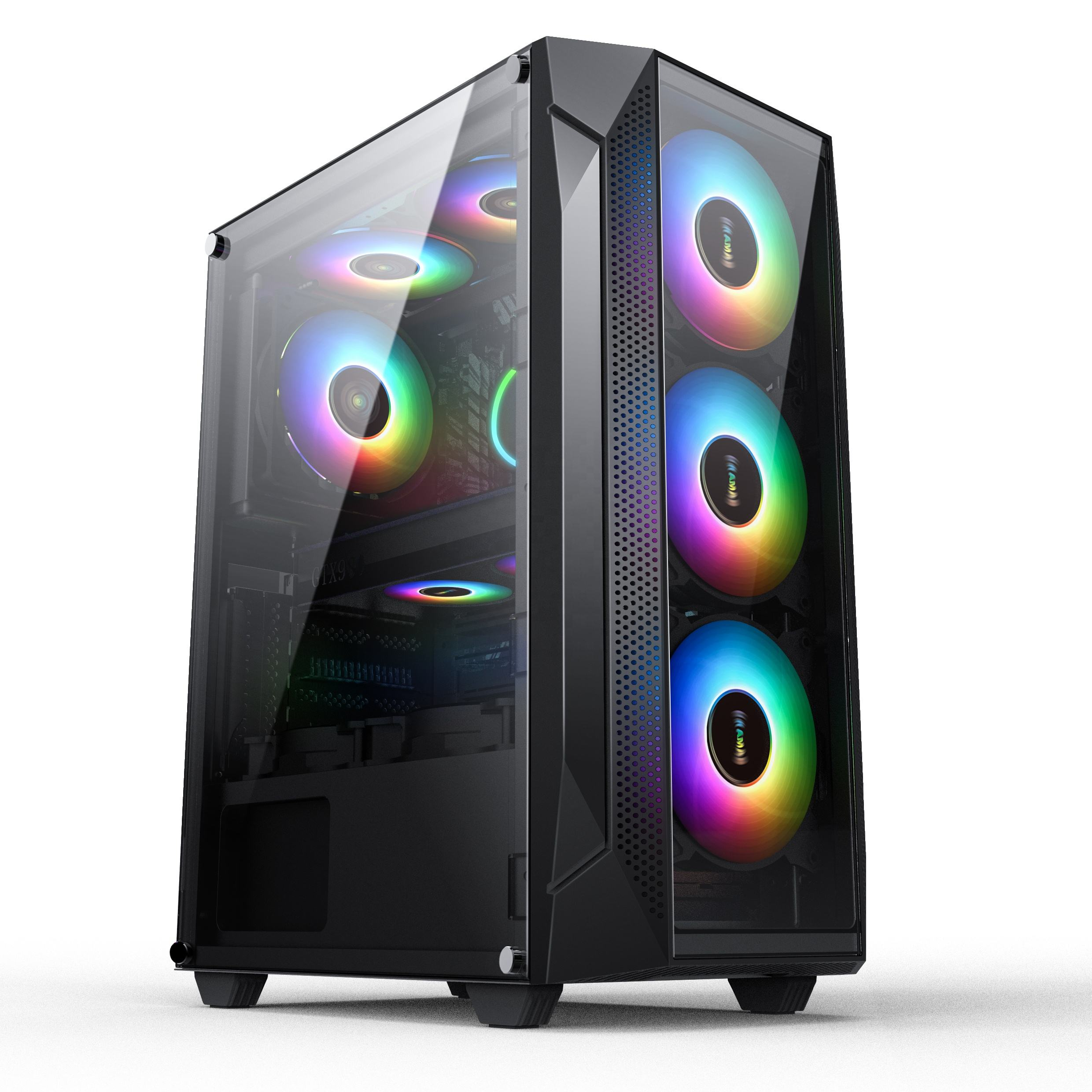 New Modern style Windmill Pulse OEM RGB Tower Transparent Computer Hardware Accessories Pc Case mini itx case