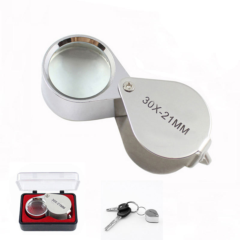 Portable 30X 20X 10x Power 21mm Jewelers Magnifier Gold Eye Loupe Jewelry Store Magnifying Glass
