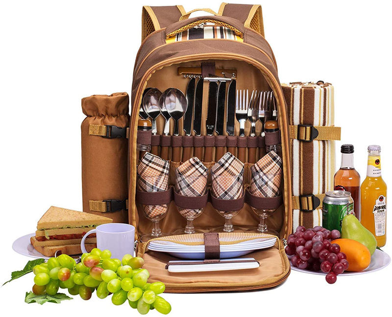 Professional wholesale large capacity durable travel picnic backpack set for 4