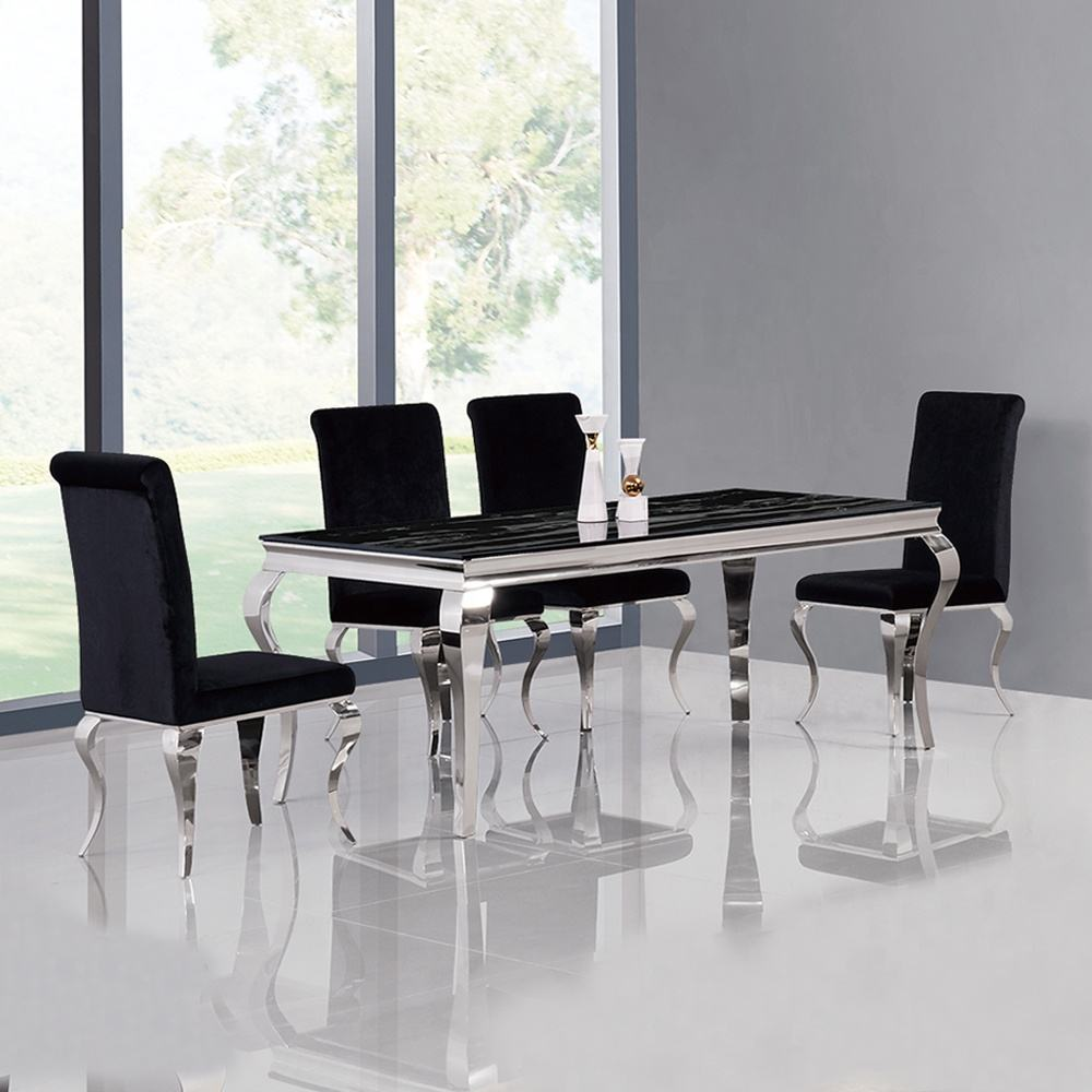home furniture dining room table designs hotel glass dining table and 6 chairs stainless steel dining table set