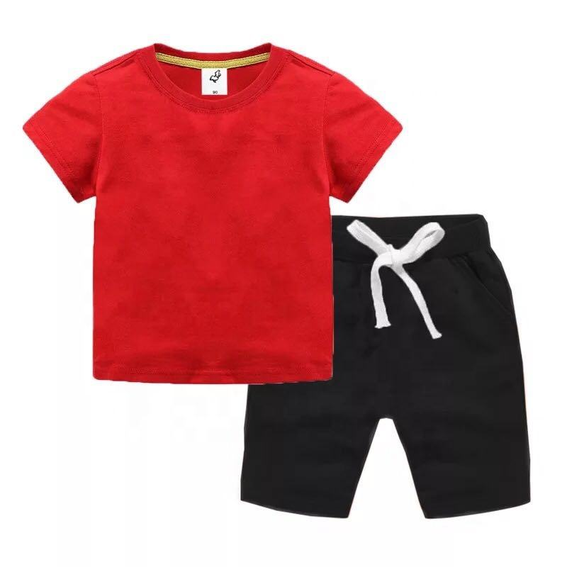 Mudkingdom 18M-8T Solid Color Kids Children Boys 2PCS Summer Sports Casual Short Sleeve Clothing Sets