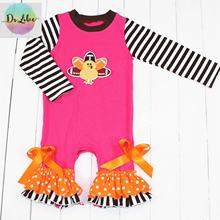 wholesale newborn clothes kids boutiqe clothing autumn baseball print ruffle baby girl romper
