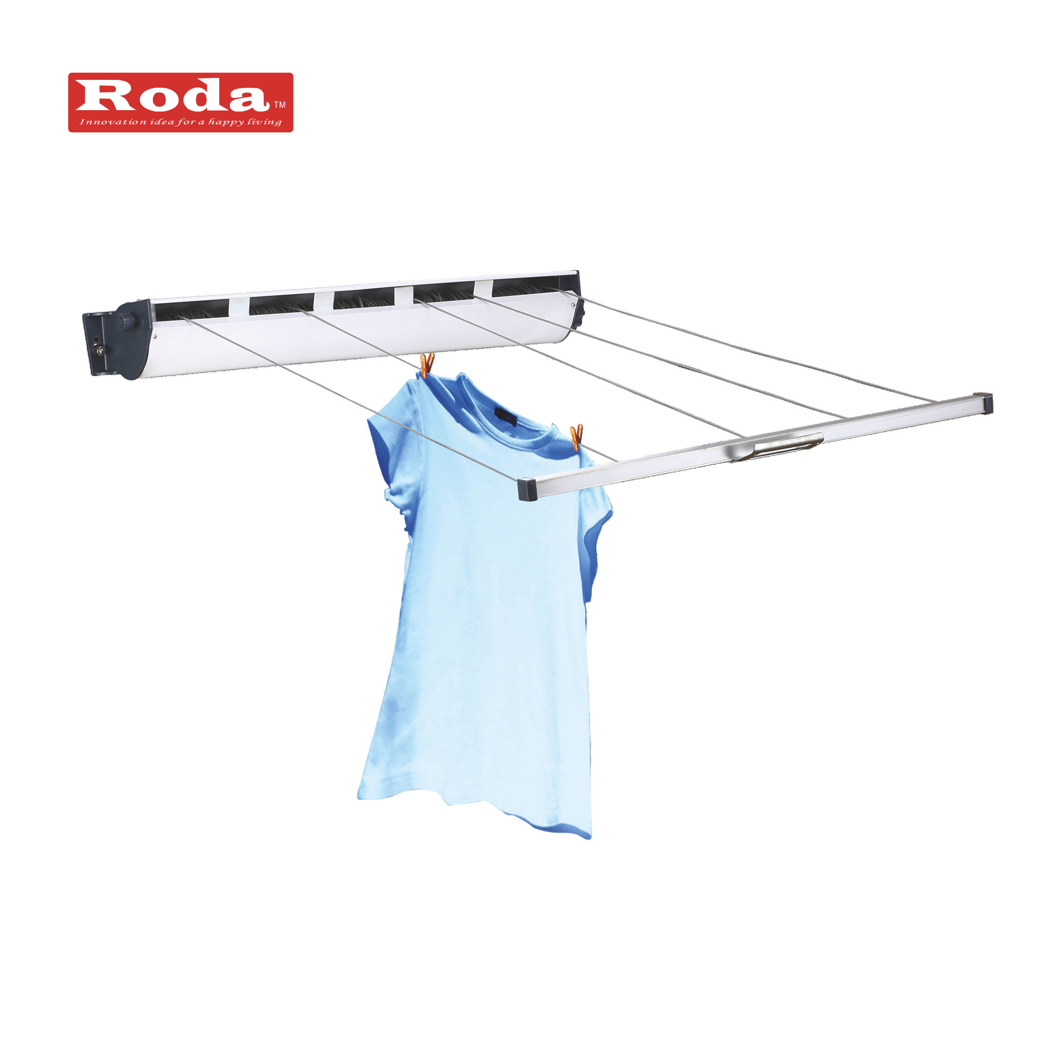 2019 hot sale outdoor Entry Level Wall Mounted Retractable Clothesline Clothes Drying Rack 5 Line