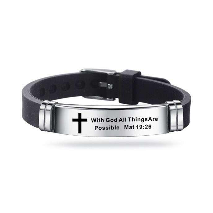 New Design Bible Verse Bracelets Men Silicone Bracelet Bible Prayer Quotes Christian Prayer Cross Engraved Statement Bracelet
