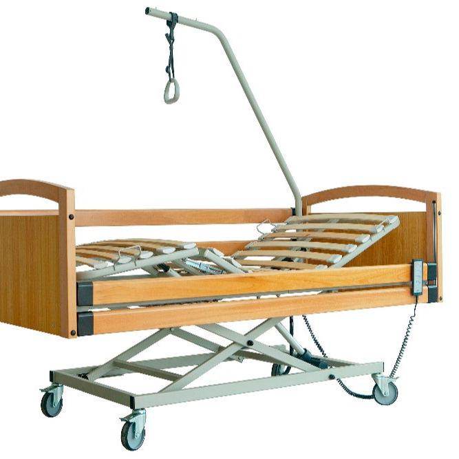 2020 Hot sales Denmark LINAK 3 function wooden backrest used nursing bed for the elderly