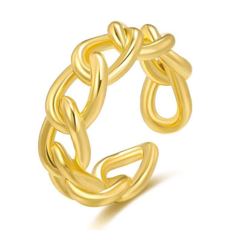 18K Gold Plated 925 SterlingシルバーRing Personalized Chain Ring Statement BandためParty | Men Womens Adjustable Pinky Ring